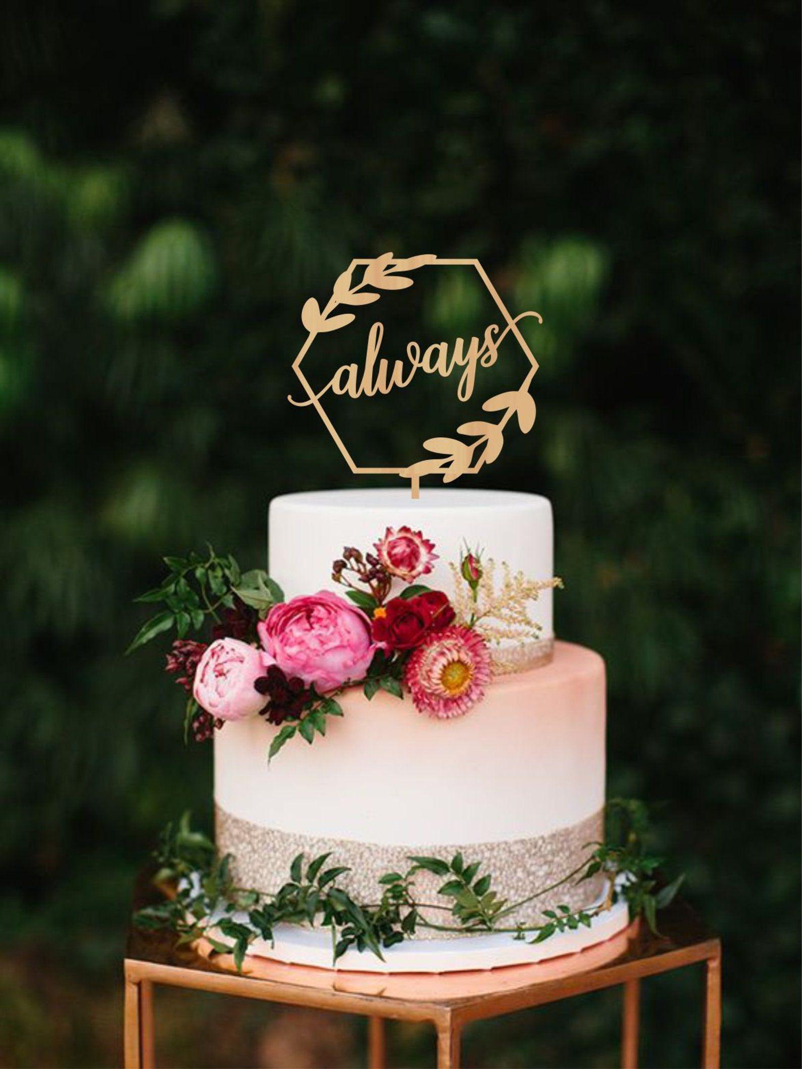 always wedding cake topper, geometric wedding cake topper