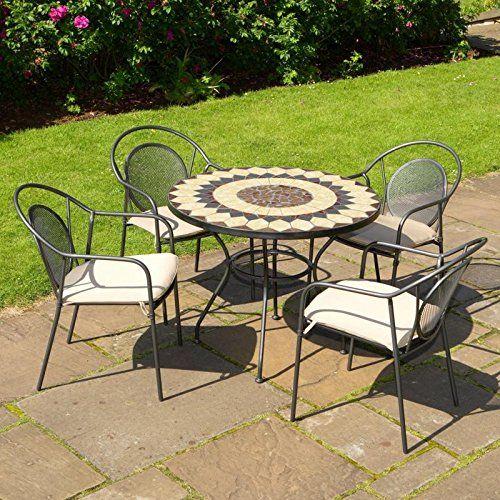 Strange Montreal Metal And Mosaic 4 Seat Garden Bistro Set Garden Interior Design Ideas Philsoteloinfo