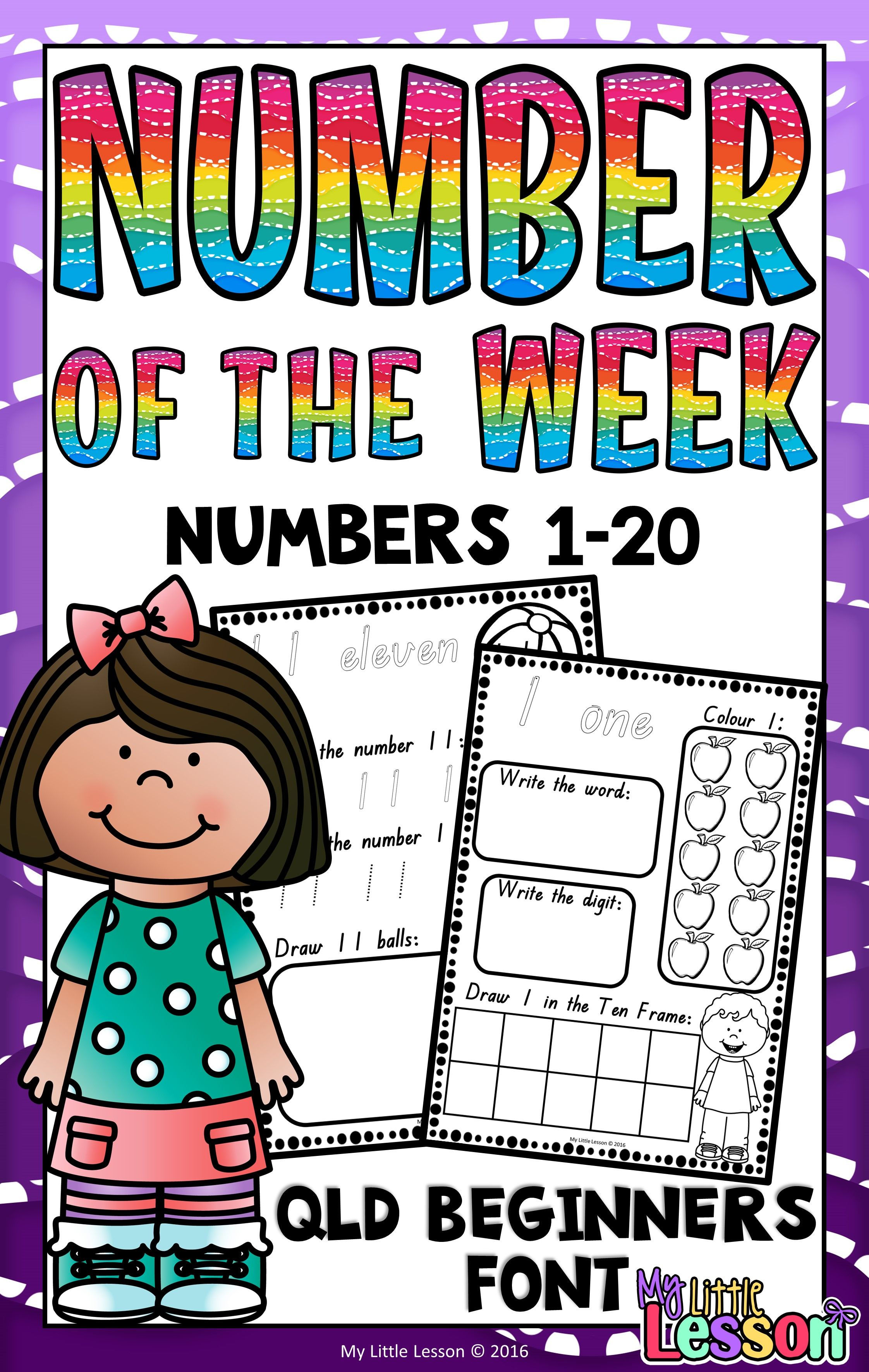 Numbers 1 20 Worksheets Qld Beginners Font