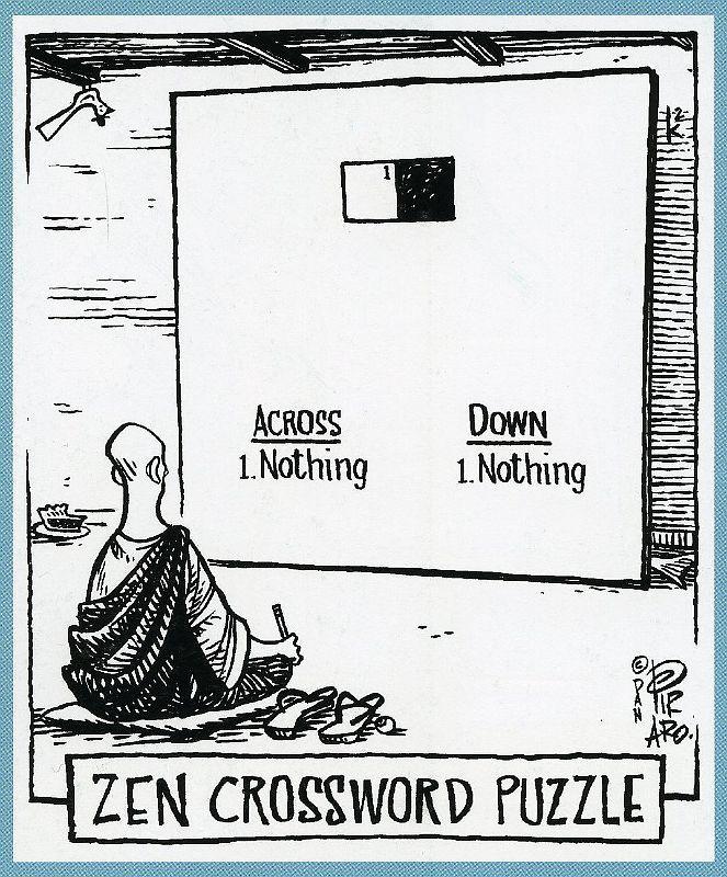 Bizarro Zen Crossword Puzzle Yoga funny, Funny jokes