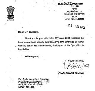 Below DrSubramanian SwamyS Letter To The Then Union Finance