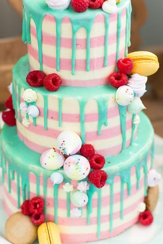 Tarta chorreando drip cake para el cumplea os de eva - Bizcocho cumpleanos para ninos ...