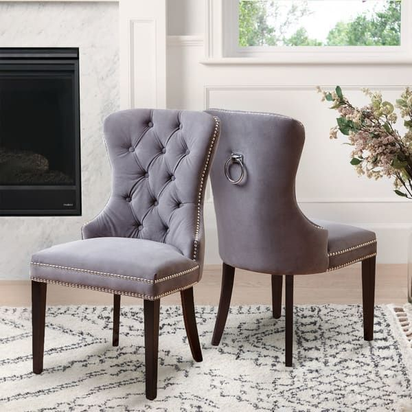 Abbyson Versailles Grey Tufted Dining Chair Set Of 2 Gray In