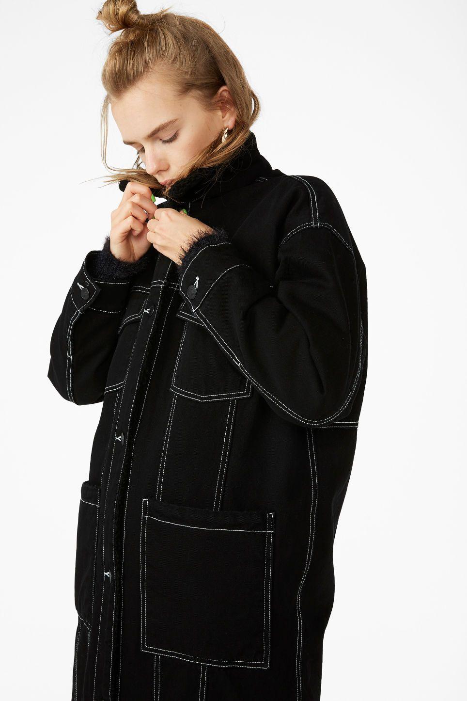 b3604b7af187 Monki contrast stitch denim jacket in black - A long padded denim jacket  with contrast stitching