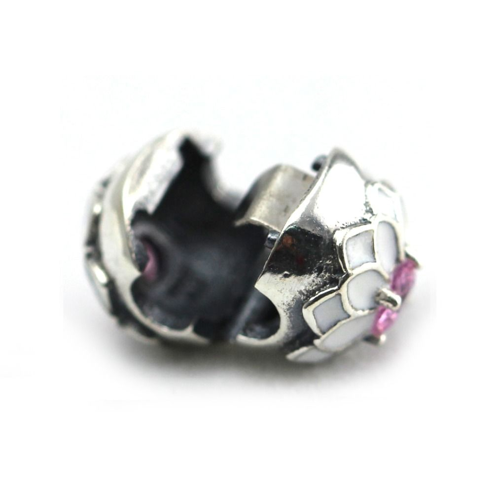 2016 NEW Spring free shipping silver plated white enamel cherry blossom clip flower charm safety bead fit pandora style bracelet