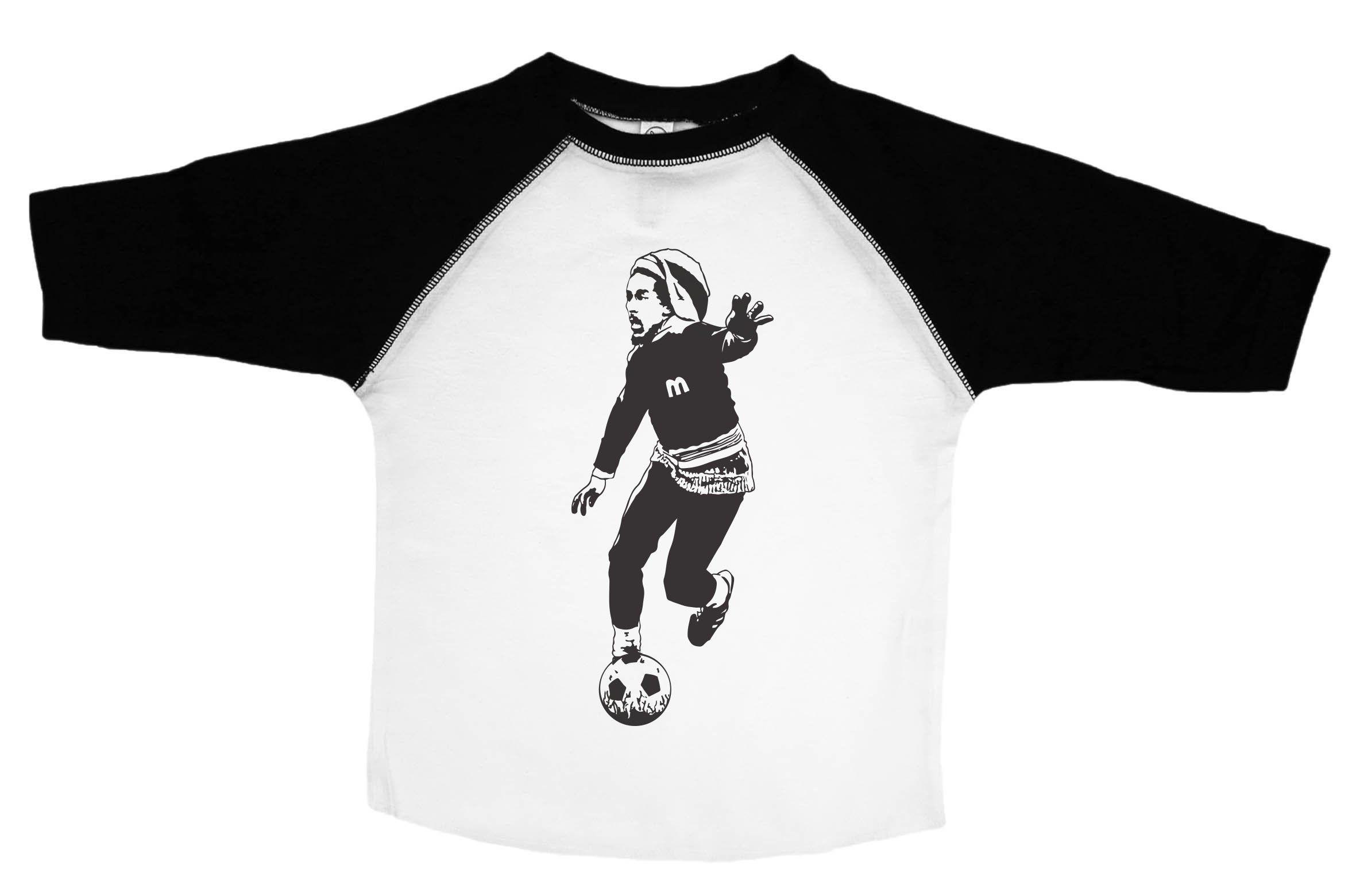 1b3913fdc Bob Marley Playing Soccer Raglan Baseball Shirt for Toddlers Colors and  Sleeve Length Available  BLACK