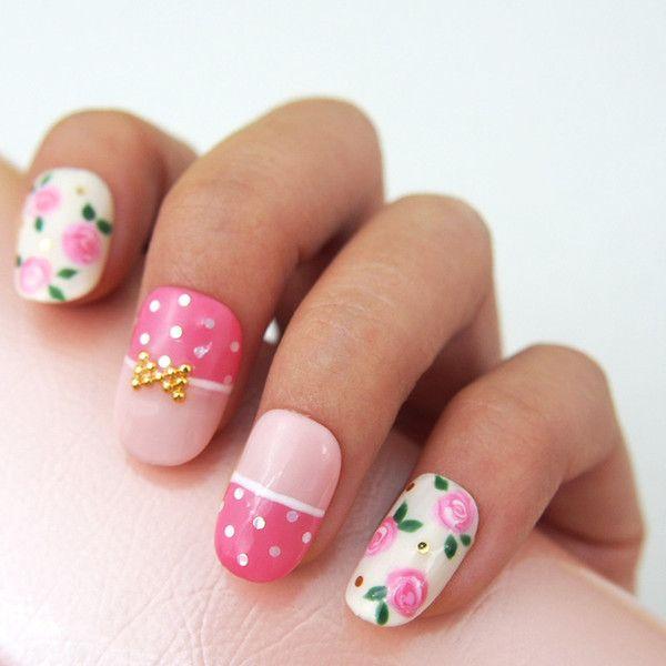 Cute Pink Rose Nails MiCHi | KAWAII NAIL TIP SHOP Made in Japan ...