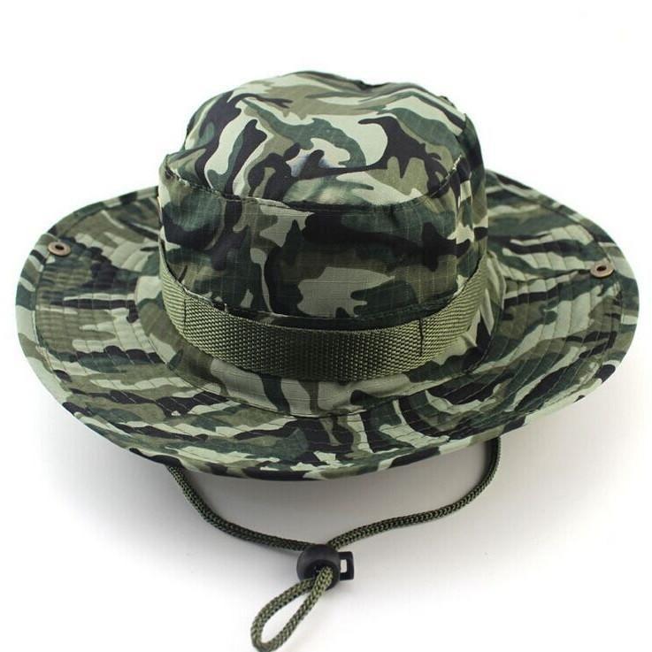 Outdoor Sports Fishing Hat Camouflage Bucket Hat Fisherman Camo Jungle Bush  Hats Boonie UV Protection Wide Brim Sun Caps Ripstop dfb38a32e3b3