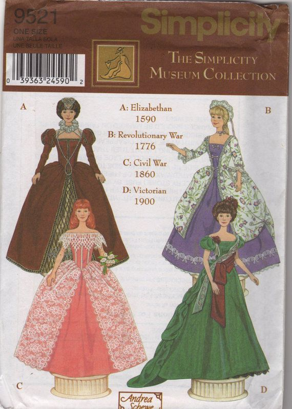 Simplicity 9521 0685 Designer Fashion Doll Clothes Pattern Barbie ...