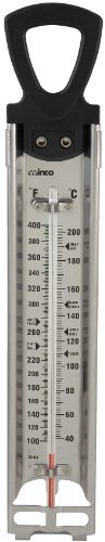 Winco 2 Inch x 11-3/4 Inch Deep fry/Candy Thermometer with Hanging Ring. Deep fry/candy thermometer. Temperature range 100 to 400 Degree F. Built-in pot clip.  - http://kitchen-dining.bestselleroutlet.net/product-review-for-winco-deep-frycandy-thermometer-with-hanging-ring-2-inch-by-11-34-inch/