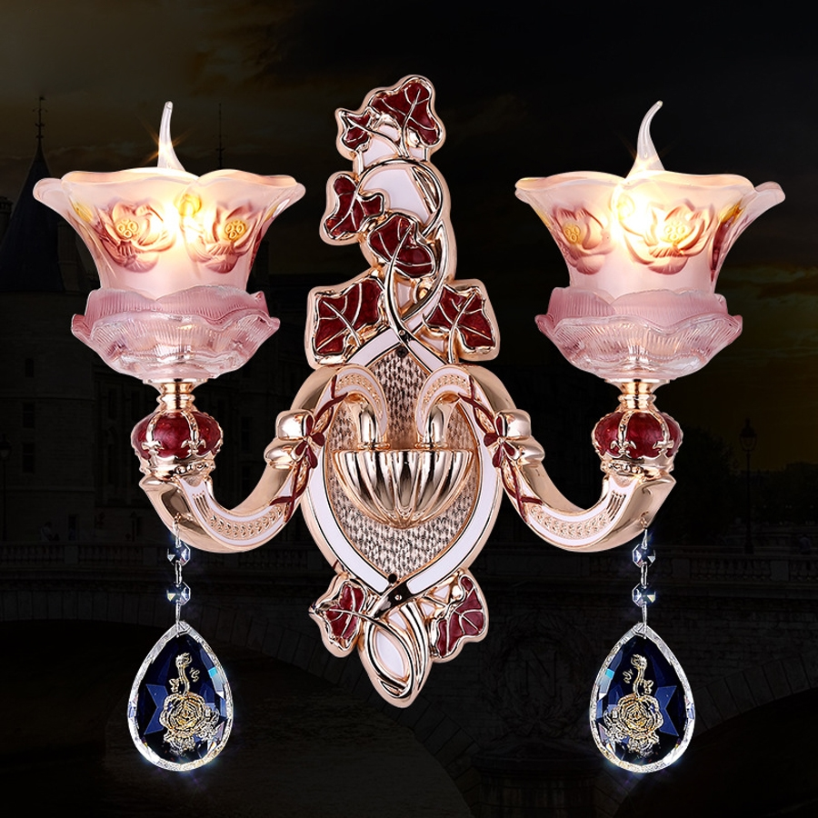 435.00$  Watch here - http://aliaoy.worldwells.pw/go.php?t=32768707904 - Wholesale European crystal Zinc alloy pink wall lamp home decorations bedroom bed living room aisle LED wall lamp Wax tail lamp