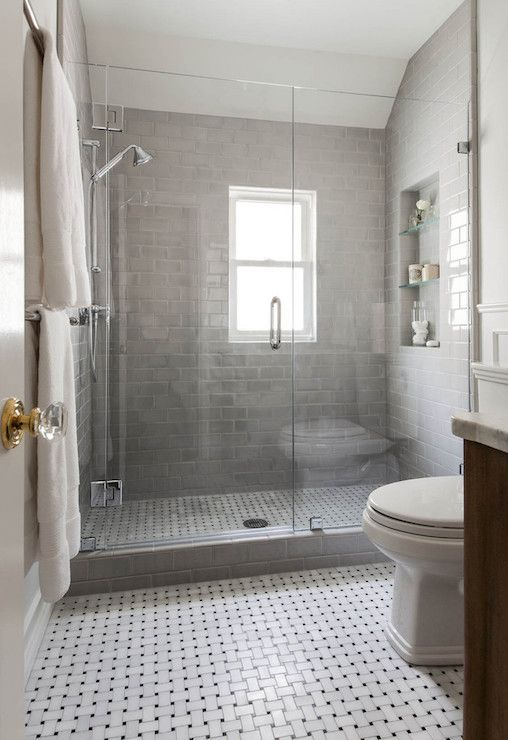 Shower With Gray Subway Tiles Transitional Bathroom Benjamin Moore Gray Owl Niche Interiors Small Bathroom Small Bathroom Remodel Bathrooms Remodel