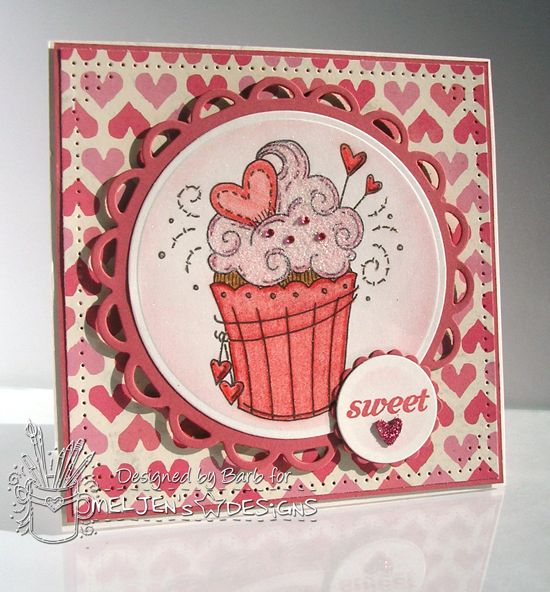 Sweet {heart} Cupcake card. Featuring the Sweetheart Cupcake digital stamp from #MelJen's Designs.