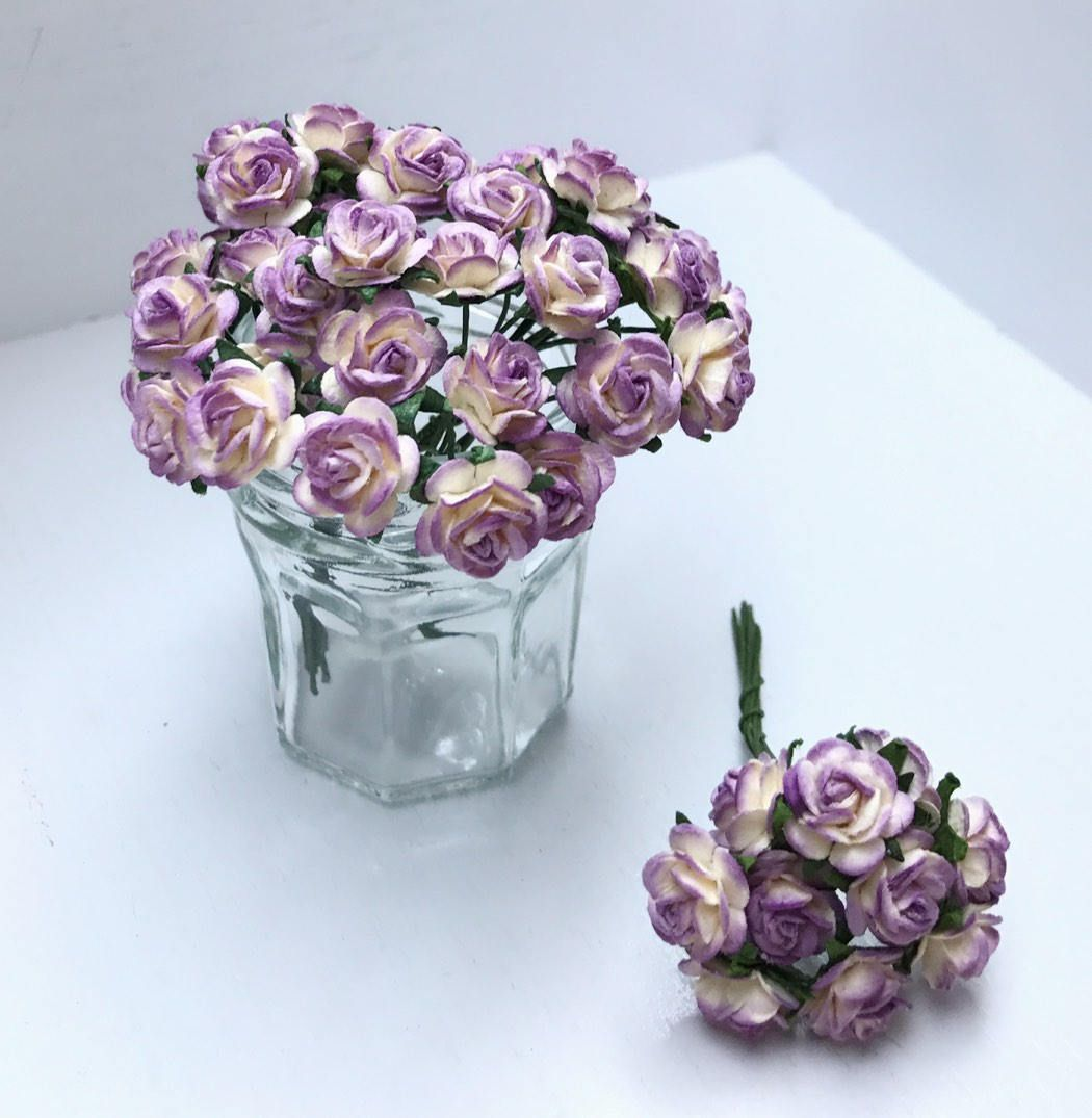 20 50 100pcs 10mm Miniature Mulberry Paper Flower Miniature Paper