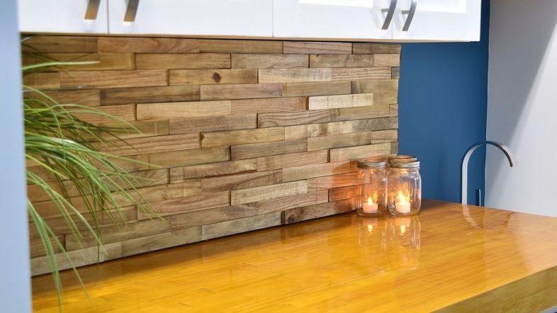 Backsplash From Reclaimed Pallets | Pallet diy, Wood ...