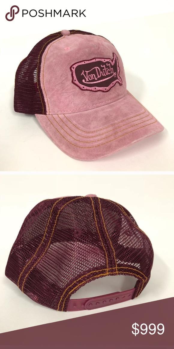 90b58b00542 Von Dutch Ball Cap Super soft pink suede bill Adjustable strap Made in the  USA 🇺🇸 Price when available  18 Von Dutch Accessories Hats