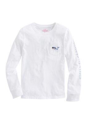 Vineyard Vines Girls' Girls 7-16 Glitter Beach Whale Fill Graphic T-Shirt - White Cap - Xl