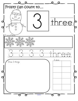 winter number practice printables recognition tracing counting 1 20 kidsparkz new activities. Black Bedroom Furniture Sets. Home Design Ideas