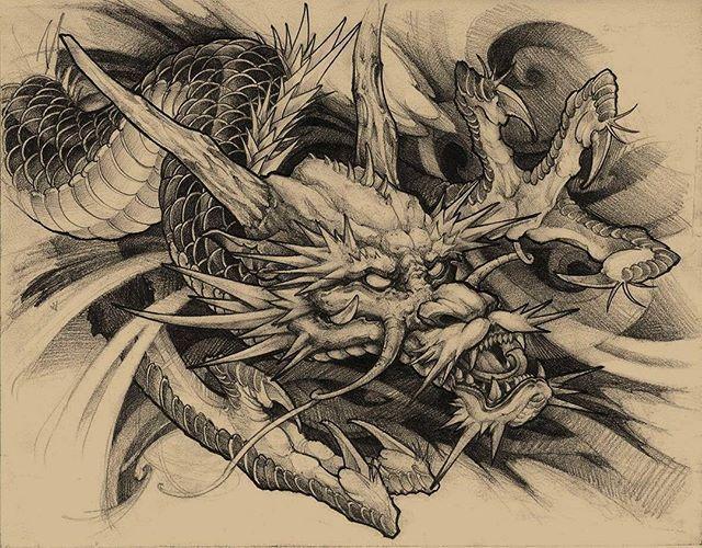 Dragon Drawing Dragon Irezumicollective Tattoo Chronicink Asianink Irezumi Drawing Illustrat Japanese Dragon Tattoos Dragon Drawing Dragon Head Tattoo