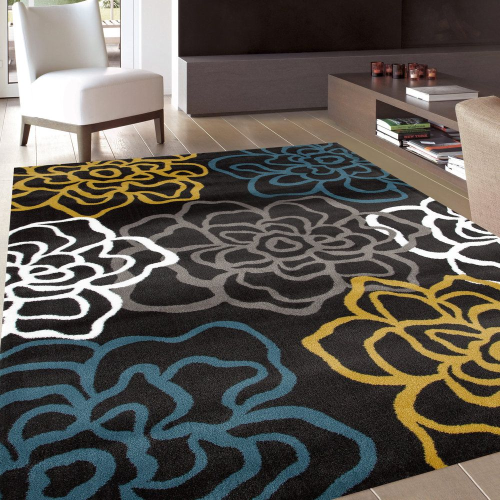 Yellow/Grey Polypropylene Contemporary Modern Floral Flowers Area Rug (5u00273  X 7