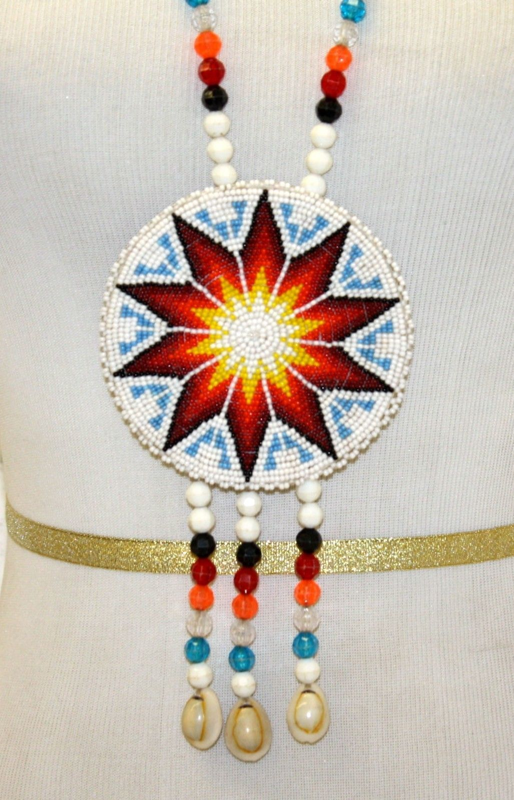 1872366c32 Nice Hand Crafted Beaded Star Design Rosette Native American Indian  Necklace | eBay