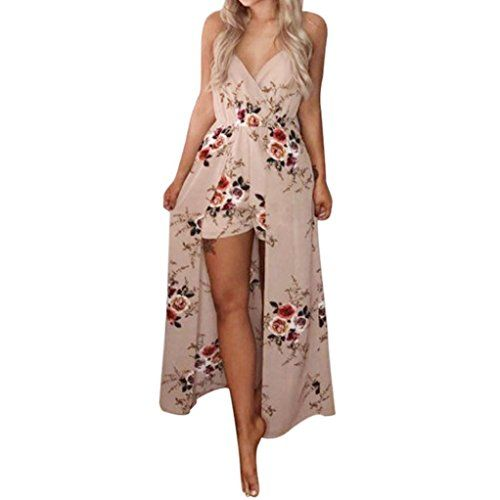 a7987841a987 Sunward Sunward Women Sexy Floral Print Strap Maxi Long Beach Dress Overlay  Shorts Jumpsuit Rompers