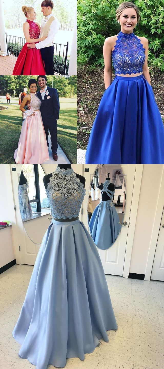 Two piece prom dresses long prom dresses homecoming dress royal