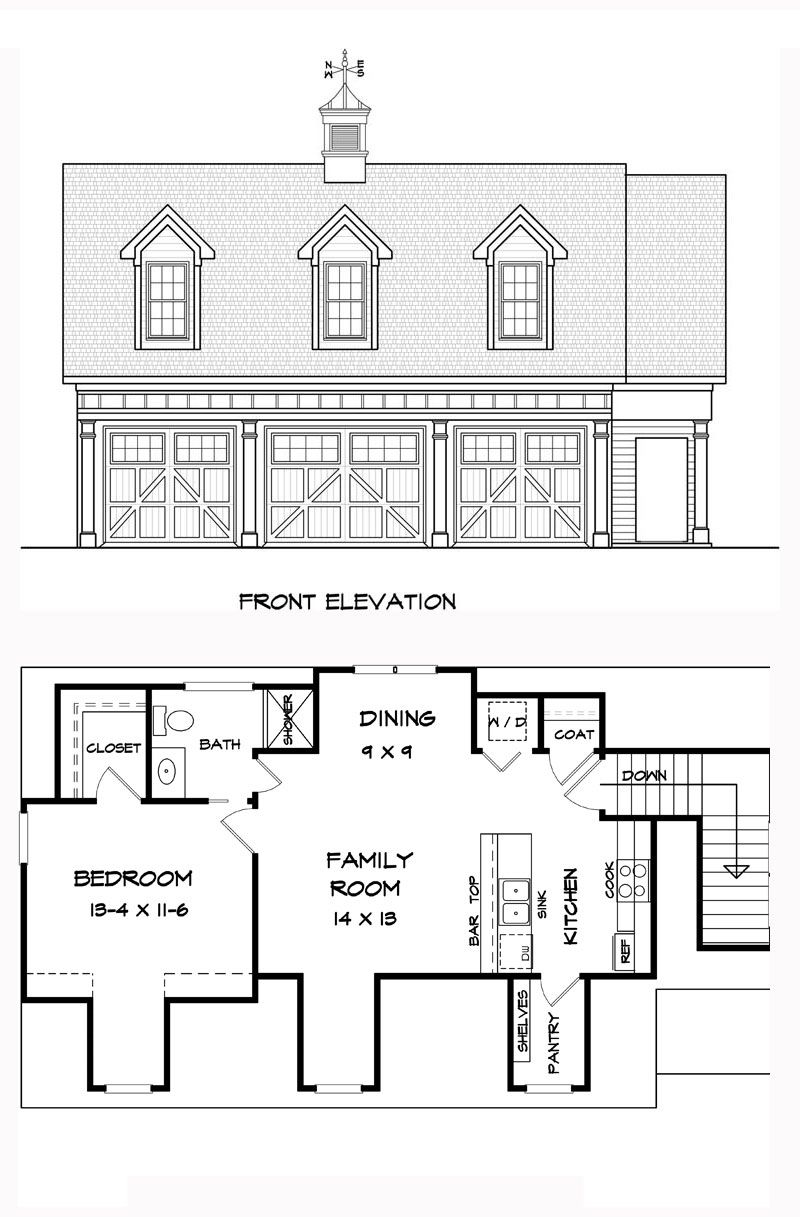 garage apartment plan 58248 total living area 1812 sq 72177