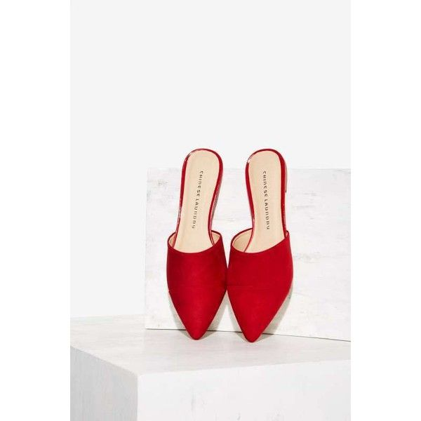 Rowan Slip-On Flat ($68) ❤ liked on Polyvore featuring shoes, flats, red, flat pointed-toe shoes, red shoes, red pointed toe shoes, pointed-toe flats and red slip on shoes