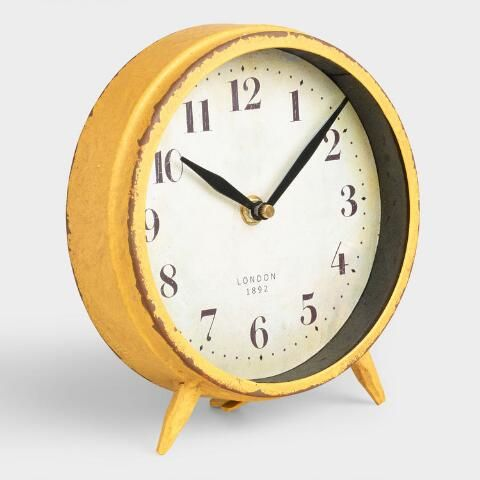 Small Yellow Charlie Clock | Yellow clocks, Grey clocks, Clock