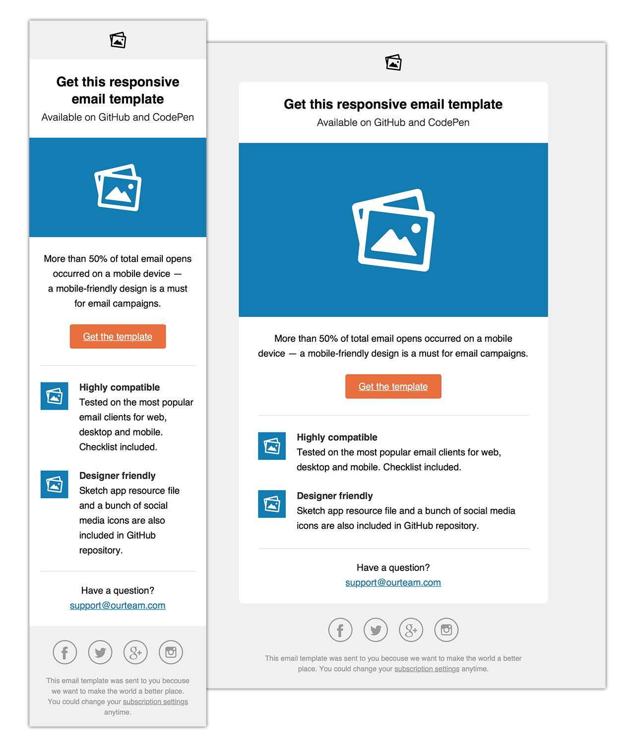 Responsive HTML email template with Sketch app resource