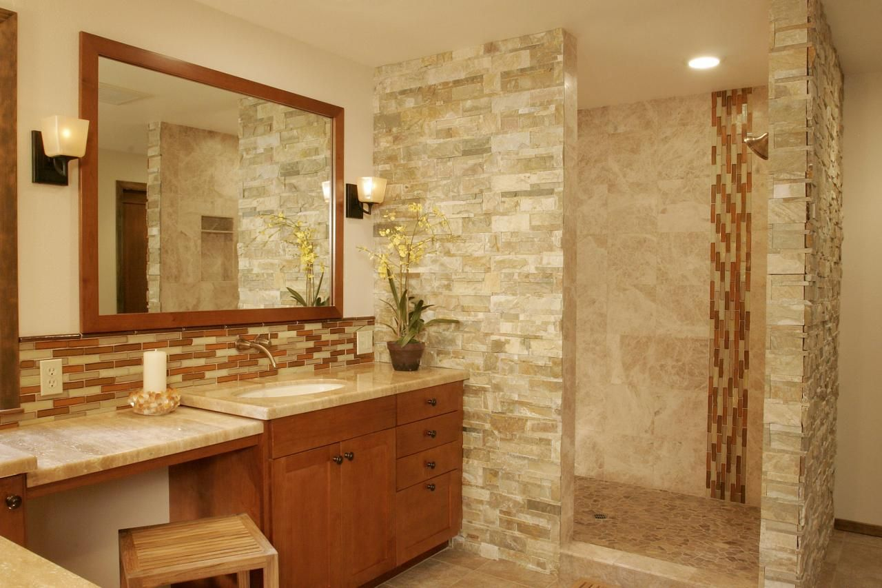 stone glass tile has become another option shades of natural stone for your bathroom description - Bathroom Tiles Natural Stone
