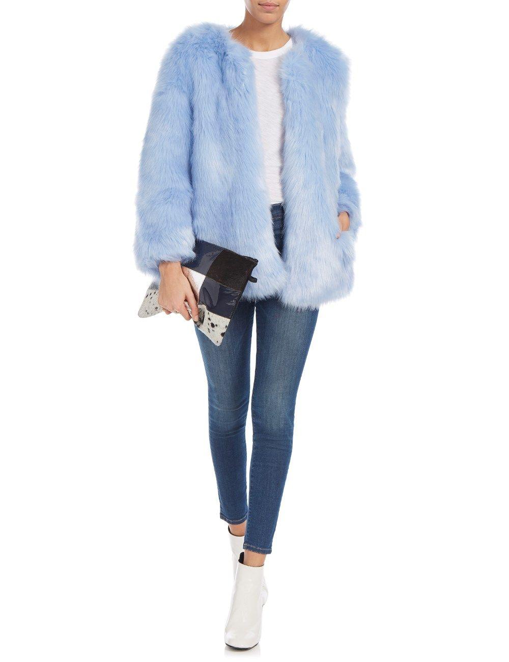Baby Blue Faux Fur Coat Thp Shop