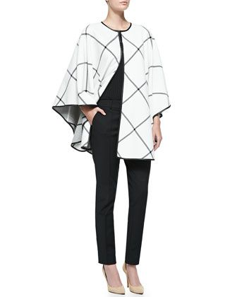 Milano Plaid Knit Cape, Rib Knit Bateau Neck Shell & Stretch Micro Ottoman Pintucked Pants by St. John Collection at Neiman Marcus.