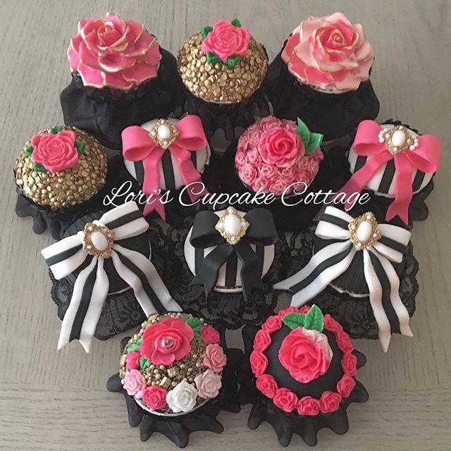 Pink Black Gold Cupcakes Cupcakes Pinterest Gold Cupcakes