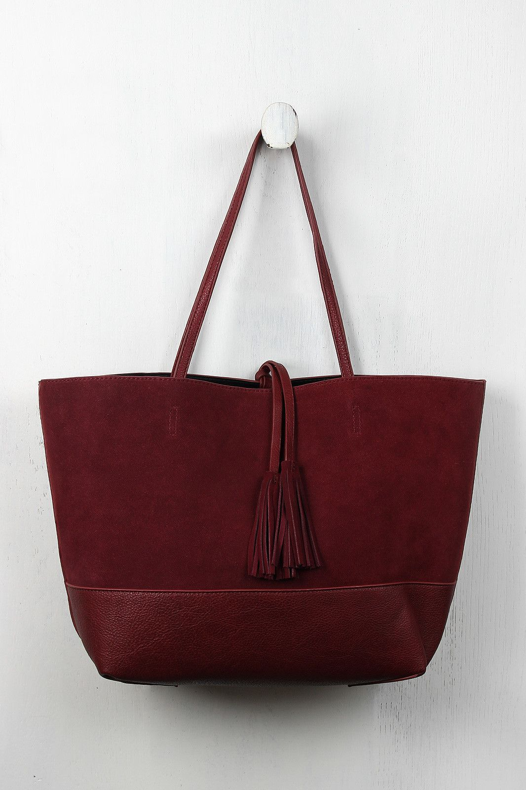 ecc3bd54efa7 Reversible Suede And Leather Tassel Tote Bag