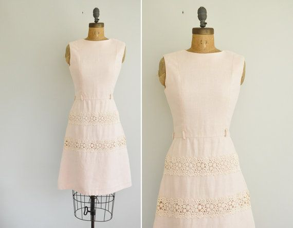 659b0c9fb5b vintage 1950s pink linen dress   50s lace dress   1950s 50s Carlye ...