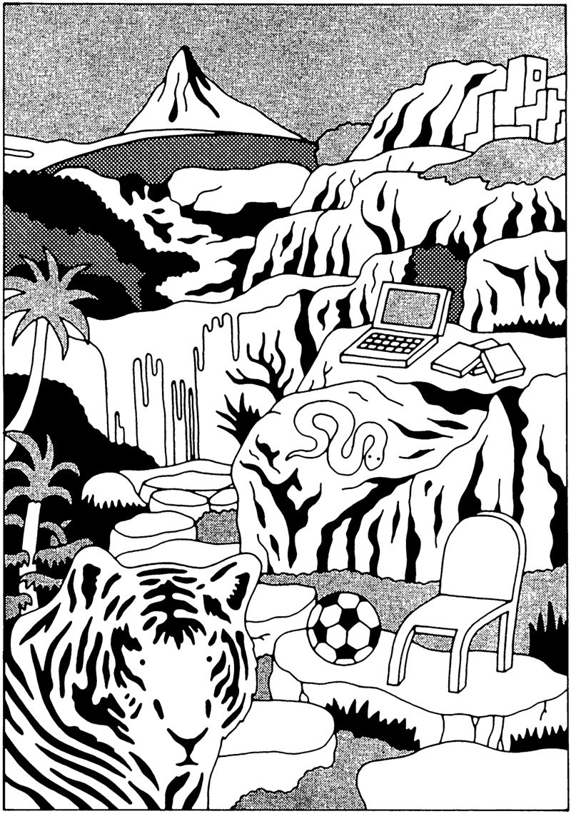 pon-chan:  monochrome illustration