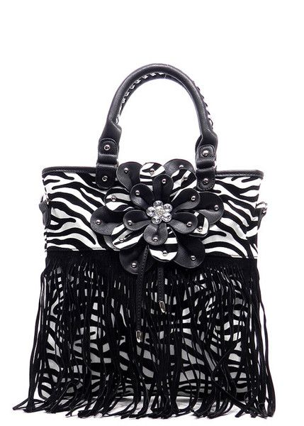 Faux Leather Zebra Fringe Flower Handbag Top Zip Closure Back Zip Pocket Detachable shoulder strap 12.5 (L) x 13 (H) x 1 (W)