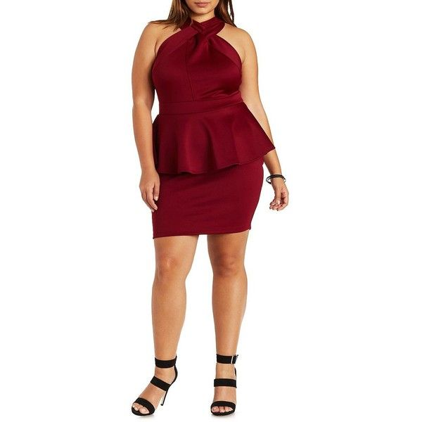 Charlotte Russe Plus Size Burgundy Strappy Crossover Peplum Dress By