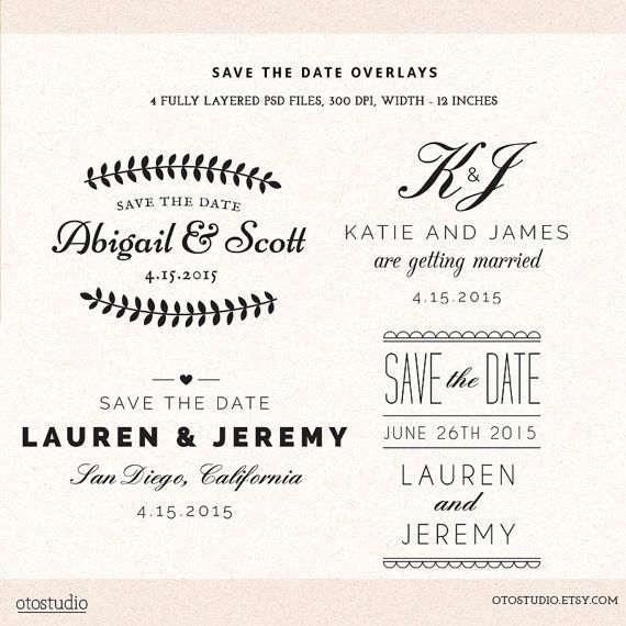 Photoshop Save the Date overlays wedding photo cards - psd templates ...