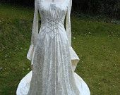 Ivory Galadriel medieval renaissance art nouveau pagan Handfasting celtic wedding gown / dress 8 TO 14