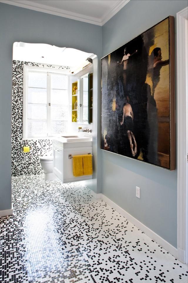 Boden Und Wandverkleidung Mit Mosaikfliesen ähneln Pixel Schwarz Weiß