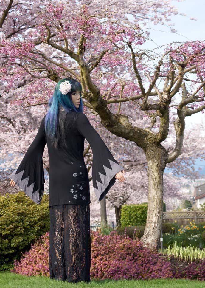 Japanese Cherry Blossoms Outfit How To Celebrate Sakura Season Hanami Fashion La Carmina Blog Alternative Fashion Goth Travel Subcultures Cherry Blossom Outfit Hanami Rainbow Hair Color