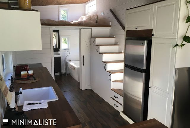 A Stunning Modern Space And Roomy At 300 Sq Ft Plus There Is An 80 Sq Ft Loft Beautiful Ch Tiny House Towns Tiny House Living Tiny House Inspiration