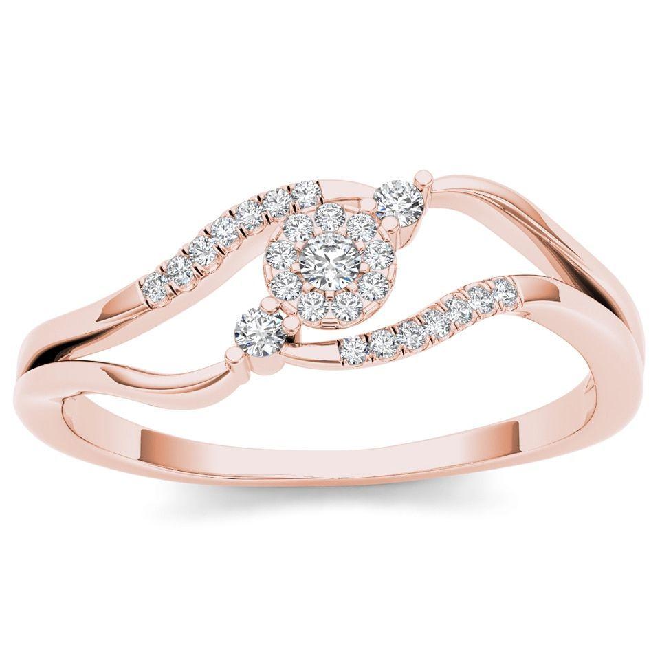 De Couer IGI Certified 10k Rose Gold 1/8ct TDW Diamond