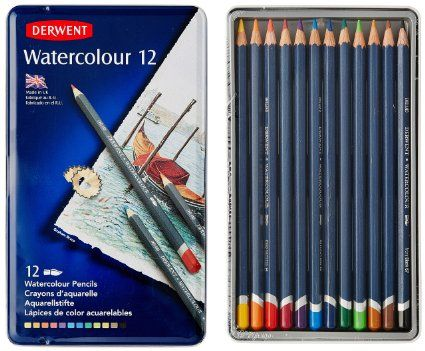 Derwent Watercolor Pencils 3 4mm Core Metal Tin 12 Count 32881