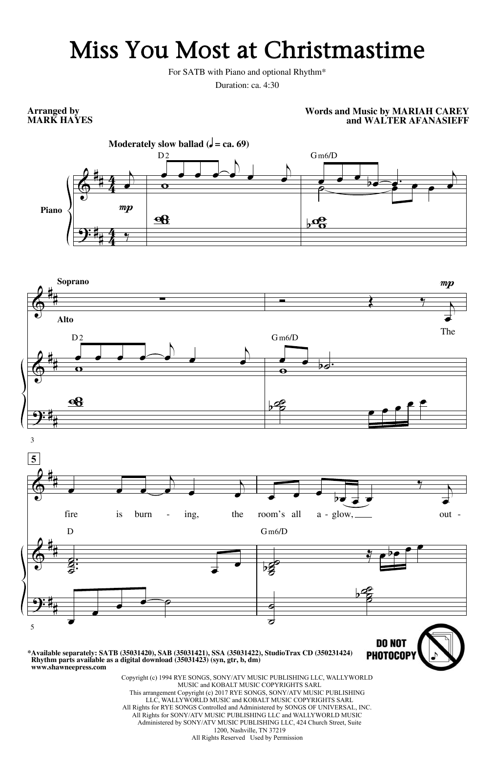 Mark Hayes 'Miss You Most At Christmas Time' Sheet Music