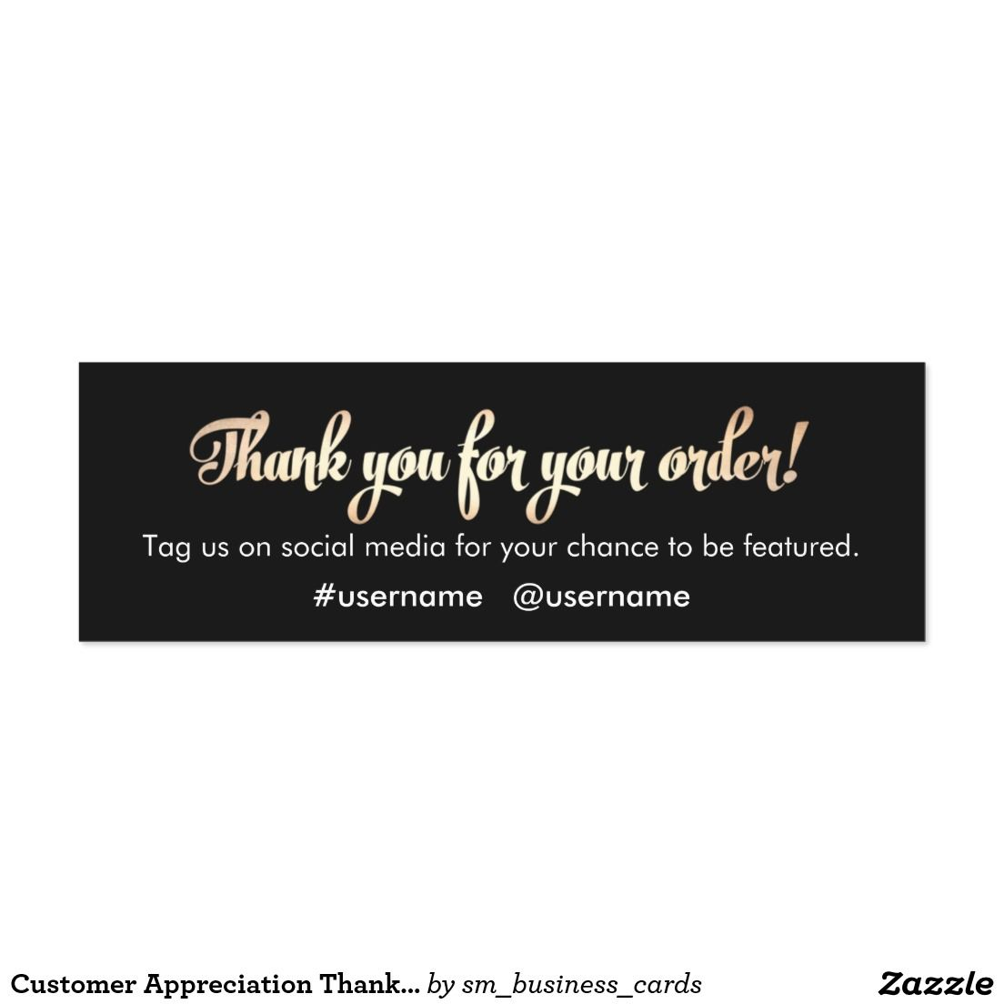 Customer Appreciation Thank You for Your Order Mini Business Card ...