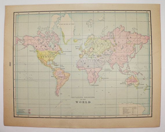 vintage world map world religions 1900 antique art map of religions of world religious history gift map of the world